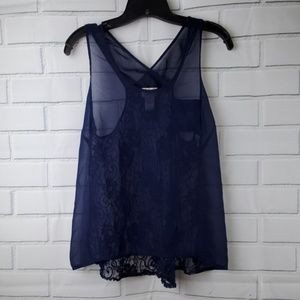 Eyelash Couture sheer navy tank with lace back